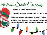 Christmas sock Exchange Party Invitation Ladies Fellowship