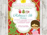 Christmas Tea Party Invitation Wording Princess Tea Party Christmas Birthday Invitation Pink