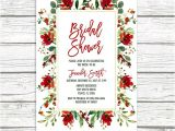 Christmas themed Bridal Shower Invitations Christmas Bridal Shower Invitation Holly Bridal Shower