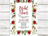 Christmas themed Wedding Shower Invitations Christmas Bridal Shower Invitation Holly Bridal Shower