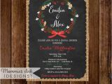 Christmas themed Wedding Shower Invitations Winter Pinecone Wreath Chalkboard Bridal Shower Invitation