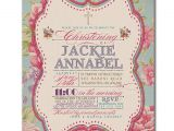 Classic Baptism Invitations Baptism Invitation Vintage Rose Classic Christening Invite