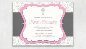 Classic Baptism Invitations Classic Baptism Invitation Pink and Gray Girl Christening