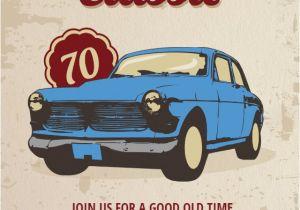 Classic Car Party Invitations Car Classic 70th Birthday Free Birthday Invitation