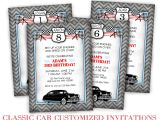 Classic Car Party Invitations Classic Car Birthday Party Darling Doodles
