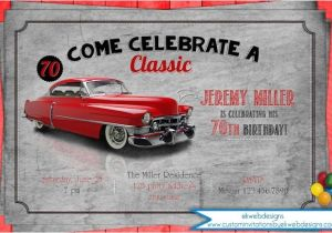 Classic Car Party Invitations Classic Car Birthday Party Invitation Adult Men 39 S