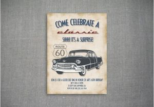 Classic Car Party Invitations Come Celebrate A Classic 5×7 Birthday Invitation by