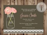 Classy 30th Birthday Invitation Wording Vintage Lace Birthday Invitation Mason Jar Invitation