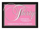 Classy 30th Birthday Invitations Elegant Pink 30th Birthday Invitations