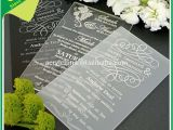 Clear Plastic Wedding Invitations Clear Acrylic Wedding Invitations with Engraving Black or