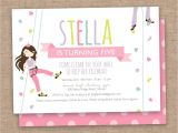 Climbing Wall Party Invitations Girl Rock Climbing Party Birthday Invitation Climbing Wall
