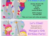 Climbing Wall Party Invitations Rock Wall Climbing Birthday Party Invitations Rock Wall