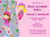 Climbing Wall Party Invitations Rock Wall Climbing Girls Birthday Party Invitation by