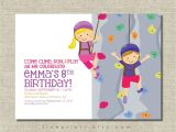 Climbing Wall Party Invitations Rock Wall Climbing Party Invitation