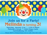 Clown Birthday Party Invitations Circus Carnival Invitation Funny Clown Polka Dots and