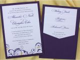 Clutch Wedding Invitations Dark Purple Yellow Floral Swirl Clutch Pocket Wedding