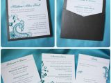 Clutch Wedding Invitations Turquoise Paisley Floral Clutch Pocket Wedding Invitation
