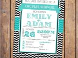 Co-ed Bridal Shower Invitations Couples Shower Invitation Co Ed Shower Chevron Turquoise