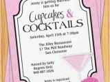 Cocktail Bridal Shower Invitation Wording Cupcakes and Cocktails Bridal Shower Invitation