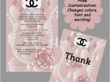 Coco Chanel Bridal Shower Invitations Custom Hand Drawn Classy and Fabulous Pink Coco Chanel