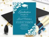 College Graduation Party Invitations Templates Printable Graduation Party Invitation Template Blue Teal High