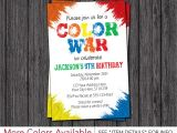 Color theme Party Invitation Wording Color War Invitation Color Run Birthday Party