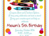 Color theme Party Invitation Wording Items Similar to Art Party Invitations Crayon Invitations