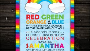 Color theme Party Invitation Wording Radiant Rainbow Printable Baby Shower or Birthday