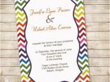 Color theme Party Invitation Wording Rainbow Colors Chevron Wedding Invitations Iwi300