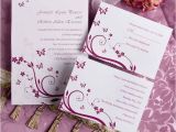 Coloured Wedding Invitations Elegant Purple butterfly Wedding Invitations with Response