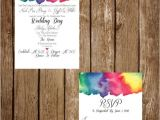 Coloured Wedding Invitations Printable Custom Rainbow Watercolour Rainbow Watercolor
