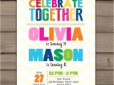Combined Birthday Party Invitation Wording Joint Birthday Invitation Joint Birthday Party Invitation