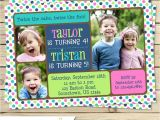 Combined Birthday Party Invitation Wording Twin Joint or Sibling Photo Birthday Invitation You Print