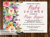 Come and Go Baby Shower Invitations Baby Shower Invitation Watercolor Flowers Invitation
