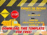 Construction Birthday Invitation Template Free Printable Construction Vehicles Birthday Invitation