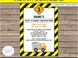 Construction theme Party Invitation Template Construction Invitation Template Dump Truck Birthday Party