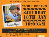 Construction theme Party Invitation Template Construction Truck Boy 39 S Birthday Party theme Spaceships