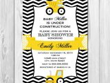 Construction themed Baby Shower Invitations Construction Baby Shower Invitation Chevron Stripes
