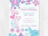 Cool Party Invites for Teenager Notebook Doodles Tween Birthday Invitation Girl Birthday