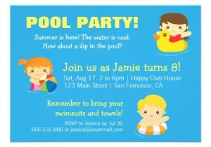 Cool Pool Party Invitation Ideas Cool Blue Summer Birthday Pool Party Invitations 4 5 Quot X 6