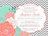 Coral and Mint Baby Shower Invitations Coral & Mint Baby Shower Bridal Shower Invitation Gray