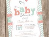 Coral and Mint Baby Shower Invitations Coral and Mint Baby Shower Invitation Chevron Invitation