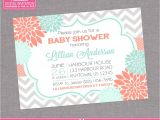 Coral and Mint Baby Shower Invitations Floral Coral Mint Chevron Baby Shower Grey by Zoeybluedesigns