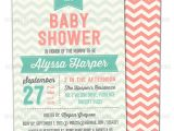 Coral and Mint Baby Shower Invitations Items Similar to Chevron Invitation In Coral and Mint for