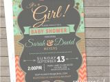 Coral and Mint Baby Shower Invitations Mint and Coral Baby Shower Invitations Printed or by Nuanceink