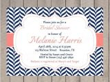 Coral and Navy Bridal Shower Invitations Bridal Shower Invitation Navy and Coral Wedding Shower
