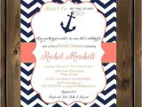 Coral and Navy Bridal Shower Invitations Navy and Coral Wedding Shower Invitations Nautical