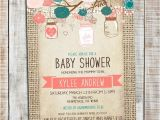 Coral and Teal Baby Shower Invitations Baby Shower Girl Invitation Mason Jar Pink Coral and Teal