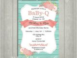 Coral and Teal Baby Shower Invitations Teal and Coral Babyque Invite Turquoise Rustic Baby Q