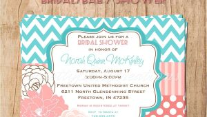 Coral and Teal Baby Shower Invitations Teal and Coral Bridal Baby Shower Invitation You Print